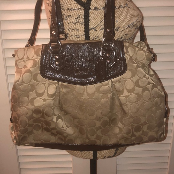 Coach Handbags - Coach tan sateen and brown patent leather purse